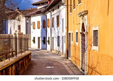 Cividale del Friuli street on Natisone river view, Friuli-Venezia Giulia region of Italy