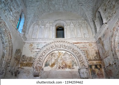 "Cividale del Friuli, Trieste, Italy - August 28 2018: The ""Tempietto Longobardo"", a UNESCO Heritage, is the most important and best preserved architectural testimony of the Lombard period in italy."