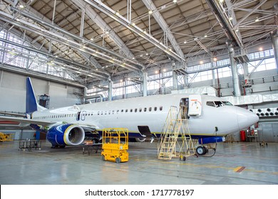 Civil aircraft under maintenance works