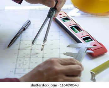 The civil engineer,Architect design and drawing the construction blueprint, Home improvement and drawing revise for re-construction