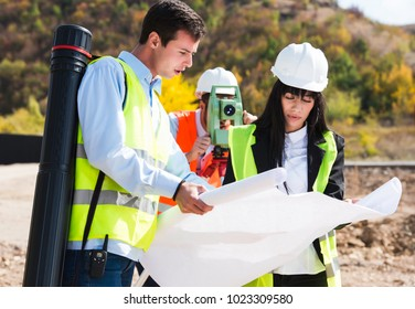 Civil Engineers At Construction Site. construction concept.