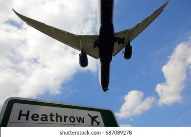 Civil passenger airplane landing at London Heathrow international airport.