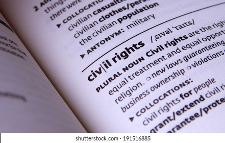 civil rights word in open book