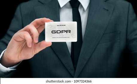 Civil servant shows card with GDPR sign. Conception of personal data protection
