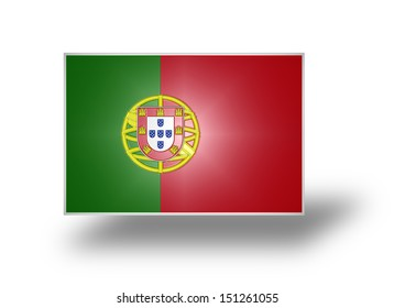 Civil and state flag and national ensign of Portugal with the lesser coat of arms (stylized I).