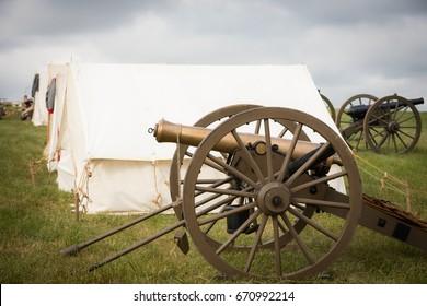 Civil War Cannon Outside Tent