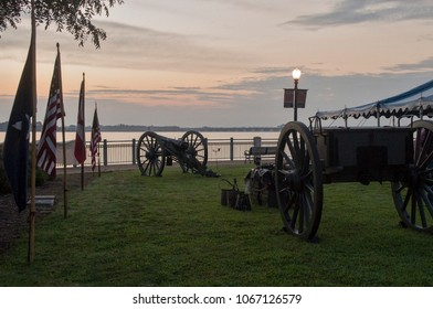 A Civil War Cannon stands ready to siginal the start of the MS Bike ride in New Bern,North Carolina