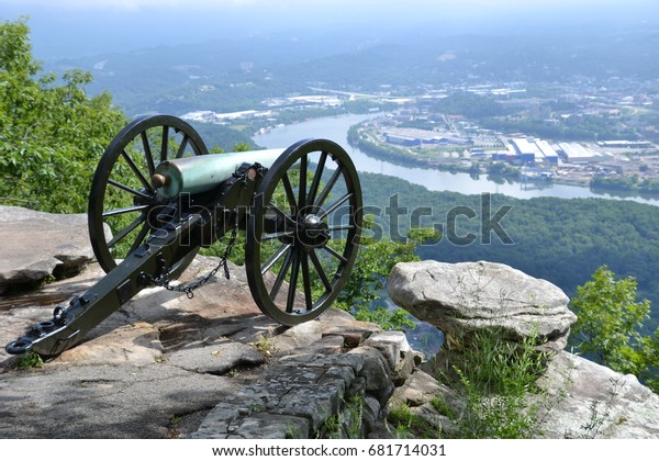 Civil War canon overlooking the Tennessee River and Chattanooga on a cloudy morning from Point Park National Park