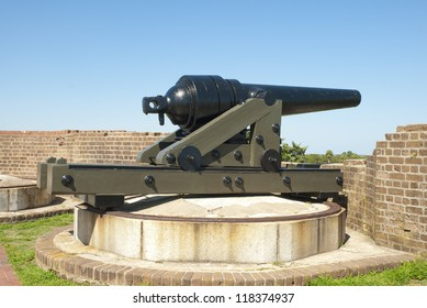 A Civil War era Blakely Rifle, or cannon, sits on a Sea Coast Carriage on the rampart of Fort Pulaski in Savannah, Georgia.
