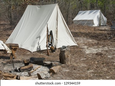 A Civil War Era Infantry Encampment in the woods.
