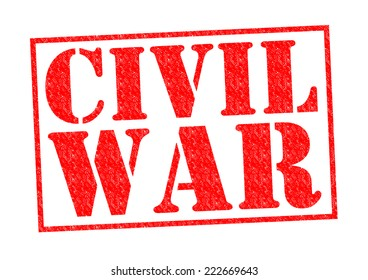 CIVIL WAR red Rubber Stamp over a white background.