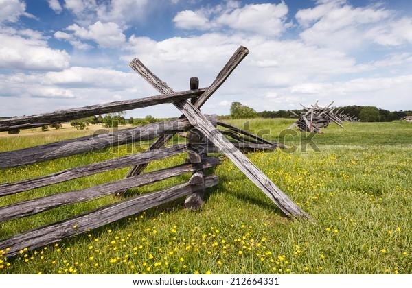 Civil War Split Rail Fence Located Stock Photo (Edit Now