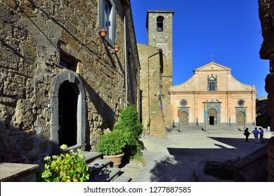 Civita di Bagnoreggio, Lazio, Italy - September 11, 2018: Civita di Bagnoreggio - Piazza Donato and Chiesa di San Donato
