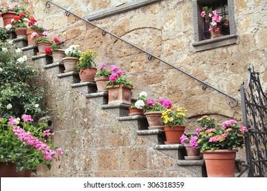 CIVITA DI BAGNOREGIO, ITALY - MAY 26, 2015: Ornamental flower vases in a street in Civita di Bagnoregio, Italy.