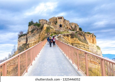 """Civita di Bagnoregio, Viterbo, Italy - Village on the rock. The """"dying city"""": picturesque landscape of the ancient village on the steep tuff hill."""