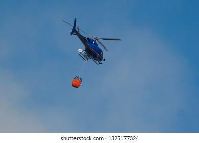 Civitavecchia- (Roma) - IT 13/06/2017 soccorso con elicotteri Regione Lazio per spegnimento incendio nella periferia della città