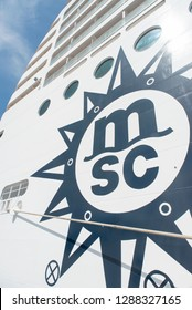 Civitavecchia/Italy - September 07 2014: Huge MSC logo on MSC Musica cruise ship docked at the Civitavecchia port. The MSC Musica was built in 2006 and is operated by MSC Cruises.