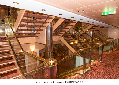 Civitavecchia/Italy - September 07 2014: The interior staircase of MSC Musica cruise ship. The MSC Musica was built in 2006 and is operated by MSC Cruises.