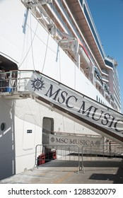 Civitavecchia/Italy - September 07 2014: MSC Musica cruise ship docked at the Civitavecchia port. The MSC Musica was built in 2006 and is operated by MSC Cruises.