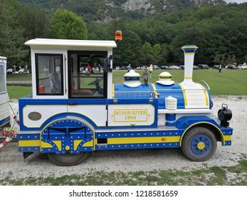 Civitella Alfedena, L'Aquila, Abruzzo, Italy - September 15th 2018: Tourist train of the Camosciara