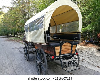 Civitella Alfedena, L'Aquila, Abruzzo, Italy - September 15th 2018: Carriage with horses for sightseeing in Camosciara