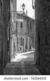 Civitella del Tronto (Teramo, Abruzzi, Italy), medieval town. Black and white