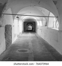 Civitella del Tronto (Teramo, Abruzzi, Italy), medieval town. Portico. Black and white
