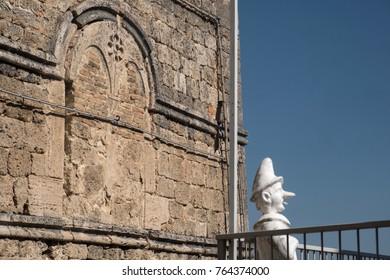 Civitella del Tronto (Teramo, Abruzzi, Italy), medieval town. Statue of Pinocchio