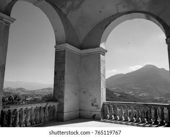 Civitella del Tronto (Teramo, Abruzzi, Italy), medieval town: landscape. Black and white