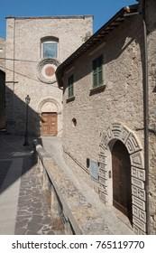Civitella del Tronto (Teramo, Abruzzi, Italy), medieval town: facade of historic church