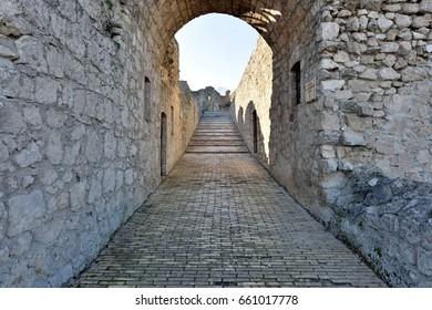 CIVITELLA DEL TRONTO (TERAMO) ITALY - The entrance with the arch of the Fortess from the village of Civitella in Abruzzo Region
