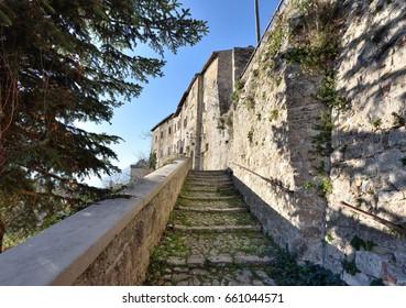 CIVITELLA DEL TRONTO (TERAMO) ITALY - The stone stairs to enter in the Fortess from the village of Civitella in Abruzzo Region