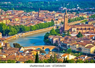 Ciy of Verona and Adige river aerial view, tourist destination in Veneto region of Italy