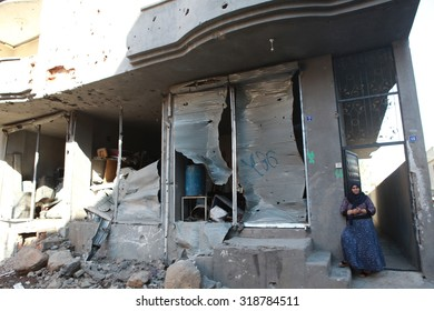 CIZRE, SIRNAK-SEPTEMBER 18: The eight-day-long curfew has left many buildings and vehicles seriously damaged in Cizre on September 14, 2015. The Photo Taken, September 18, 2015.