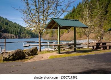 Clackamas river marina docking station in rural Oregon.