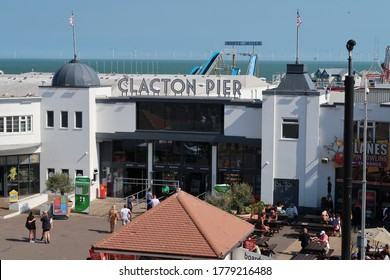 Clacton, Essex. United Kingdom, July 17, 2020. Entrance to traditional  modernised Victorian pleasure pier on the beach. Signage. Clacton, Essex, United Kingdom, July 17, 2020