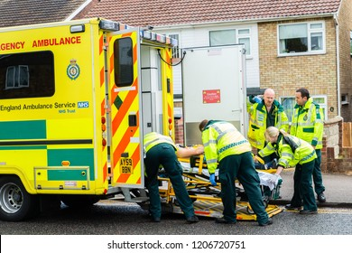 Clacton on Sea, Essex - 1st August 2016 - Emergency services on scene at a drink driving accident with an over turned and injured driver, Police, ambulance paramedics and fire brigade attend the scene