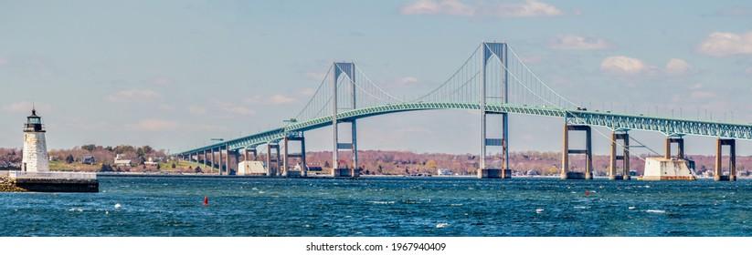 Claiborne Pell or Newport Bridge and Goat Island Lighthouse in Newport, Rhode Island
