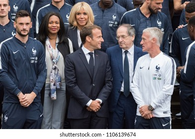 CLAIREFONTAINE, FRANCE - JUNE 5, 2018 : Emmanuel Macron with his wife Brigitte Macron at the national centre of football with Didier Deschamps, Noël Le Graët, Laura Flessel, Hugo Lloris