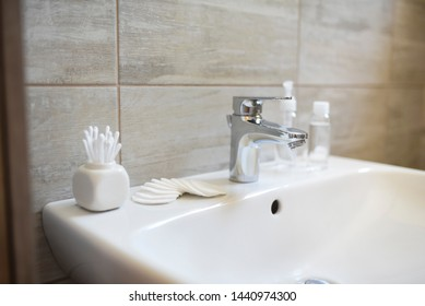 Clam and clean minimal design of bathroom. Scandinavian style. Copy space, banner.