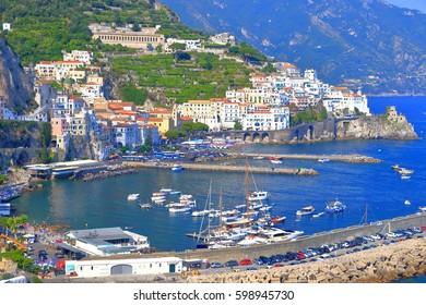 Clam sea inside the harbor of Amalfi, Amalfi coast, Italy