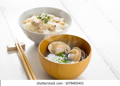 Clam soup with clams and clam with rice