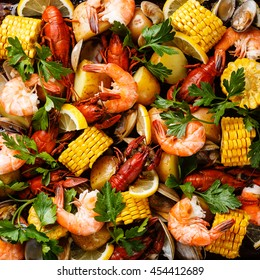 Clambake Seafood boil with Corn on the cob, Potatoes, Prawns, Crayfish and Clams