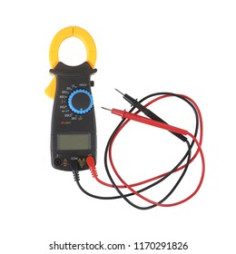 Clamp Amp meter for electrical tester that combines a voltmeter with a clamp type current meter multi-functional isolate on white background. clipping path