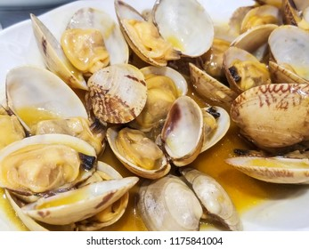 Clams in marine sauce served in a tray