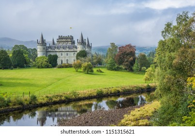 Clan Campbell Castle, West Highlands of Scotland.  Picturesque scean with small river, open grass land, scattered trees.