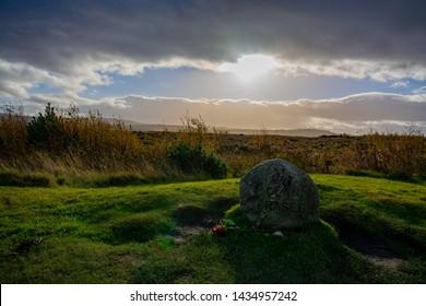 Clan Fraser memorial at Culloden moor battlefield near Inverness in Highlands, Scotland