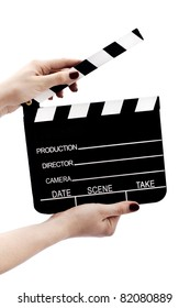 Clapboard in hands isolated on white