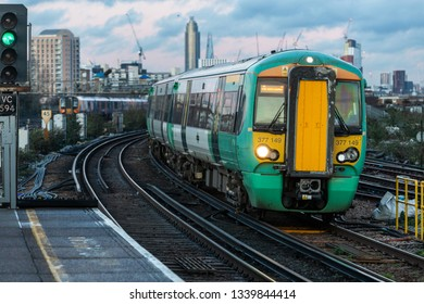 Clapham Junction, London, UK; 12th March 2019; Front View of Southern Rail Train Arriving at Clapham Junction Station