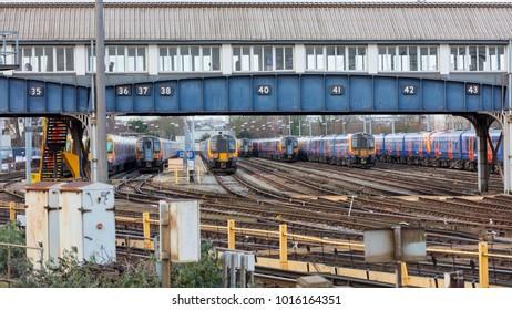 Clapham Junction, London, UK; 2nd February 2018; Passenger Trains in Sidings
